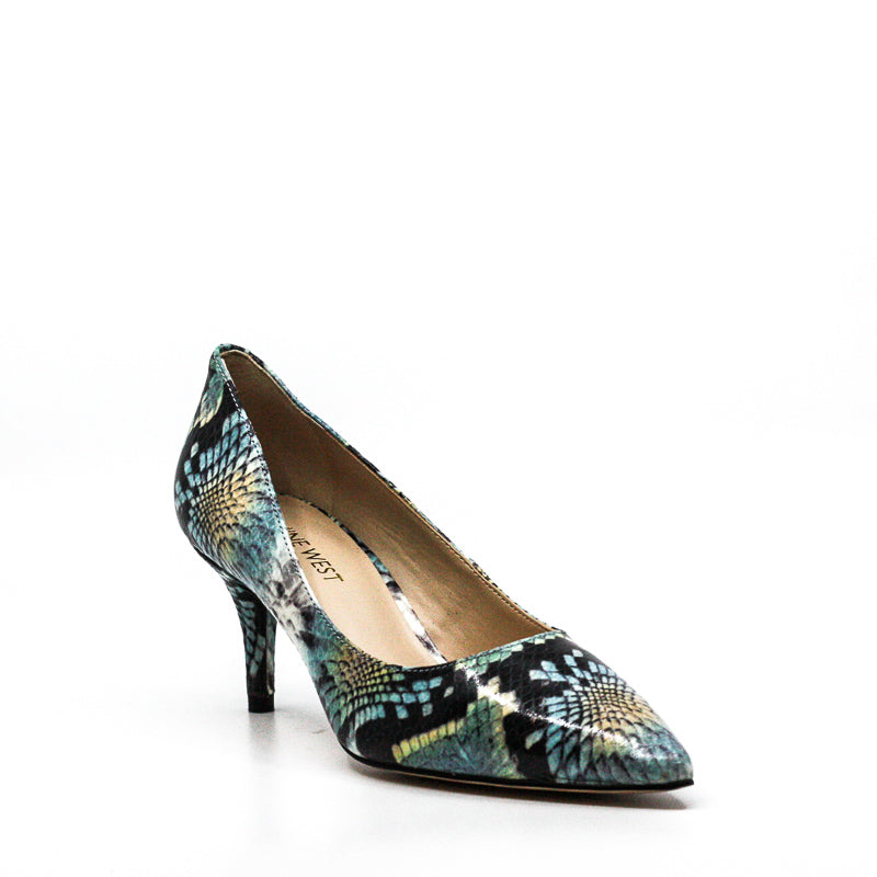 Yieldings Discount Shoes Store's Margot Dress Pumps by Nine West in Snake Blue