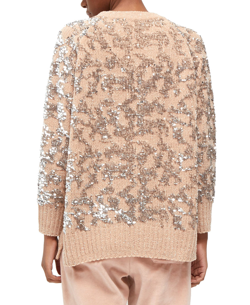 Yieldings Discount Clothing Store's Patterned Sequin Crew-Neck Sweater by French Connection in Champagne