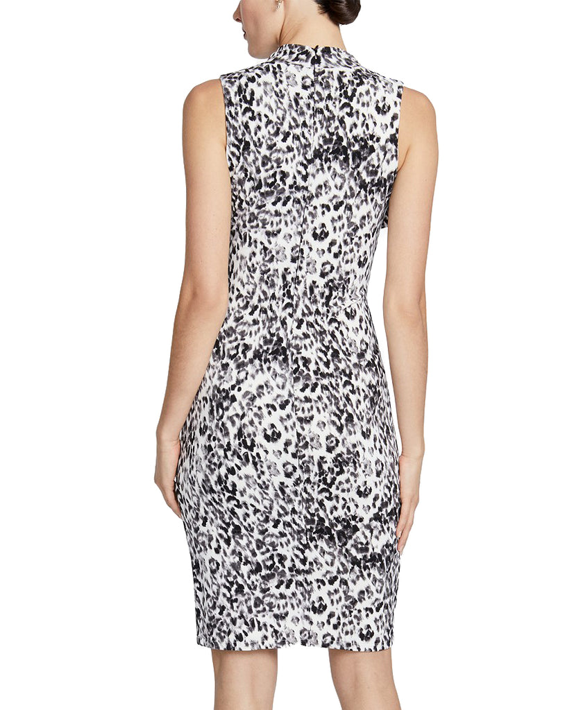 Yieldings Discount Clothing Store's Axel Twist-Neck Leopard Print Sheath Dress by RACHEL Rachel Roy in Black Combo