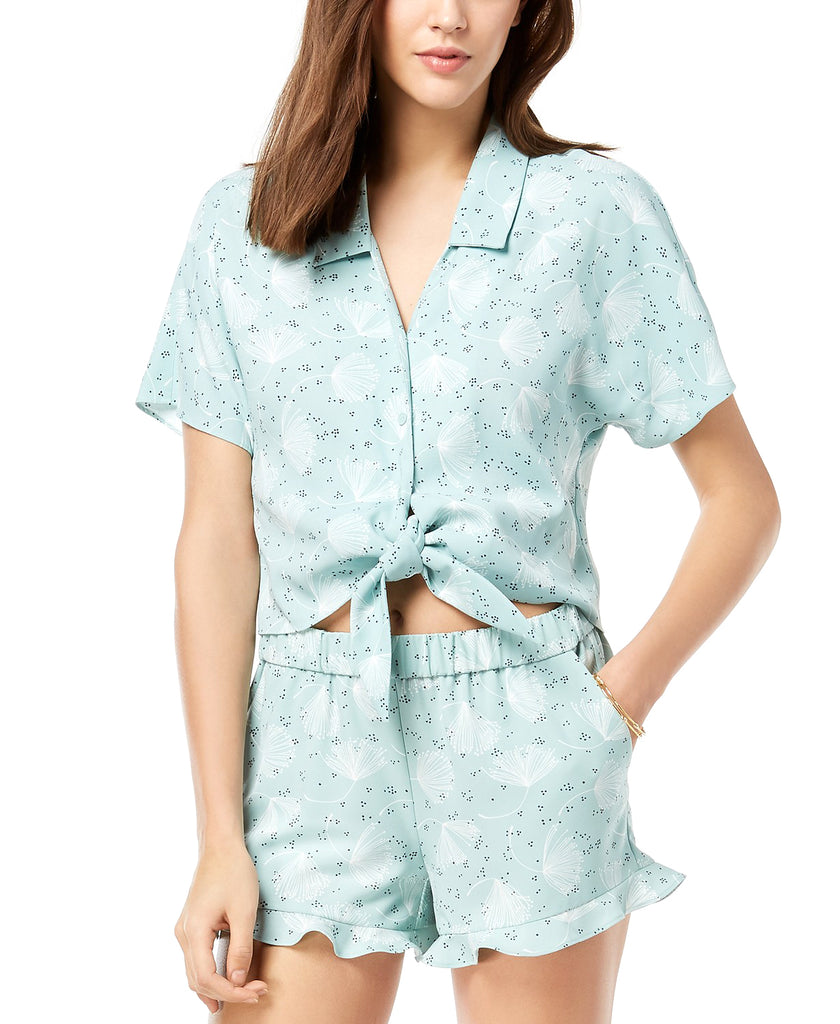 Yieldings Discount Clothing Store's Printed Tie-hem Top Short Sleeve by Maison Jules in Green