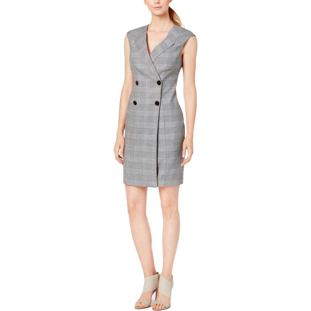 Yieldings Discount Clothing Store's Plaid Buttoned Coat Dress by Calvin Klein in Black/Cream
