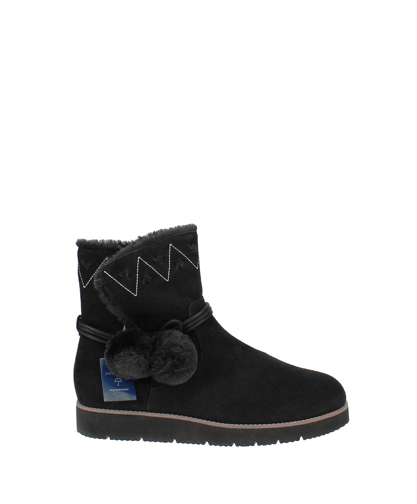Yieldings Discount Shoes Store's Vera Suede Pom Pom Boots by Jack Rogers in Black