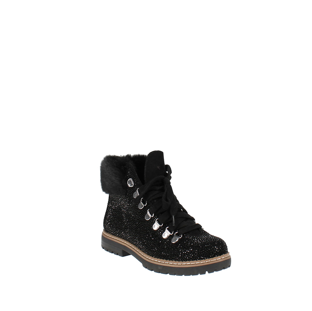 Yieldings Discount Shoes Store's Pravale Lug Sole Cold Weather Booties by INC in Black Bling