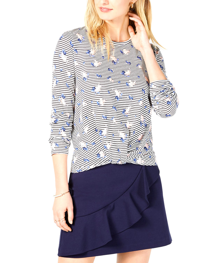 Yieldings Discount Clothing Store's Printed Twist-Front Top by Maison Jules in Cloud Combo