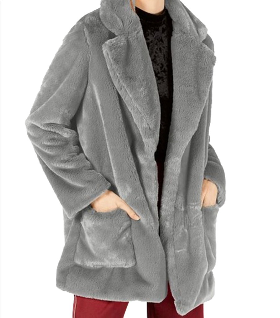 Yieldings Discount Clothing Store's Faux Fur Open-Front Coat by Sage in Gray