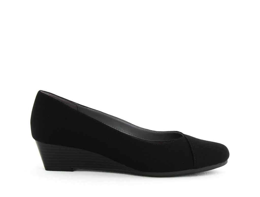 Yieldings Discount Shoes Store's First Love Wedges by A2 by Aerosoles in Black Fabric