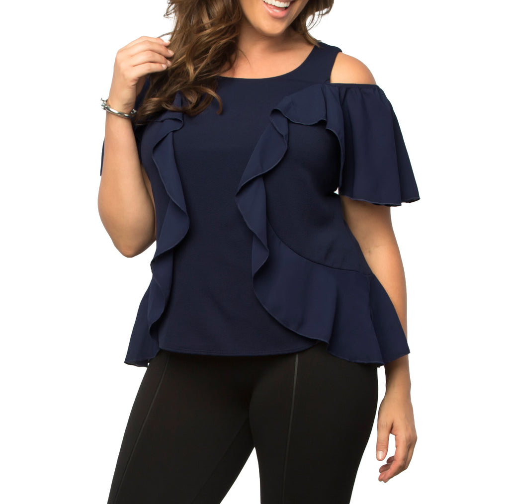 Yieldings Discount Clothing Store's Flawless Flounce Top by Kiyonna in Navy