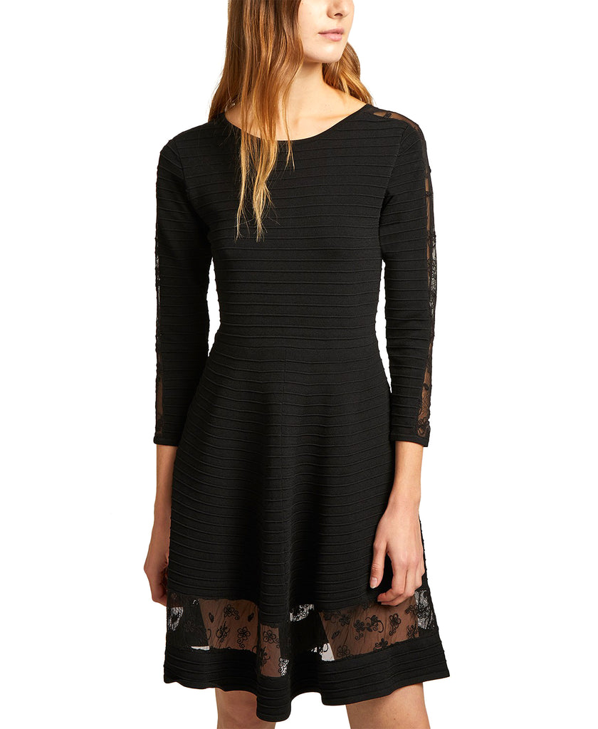 Yieldings Discount Clothing Store's Voletta Mesh-Trim Dress by French Connection in Black