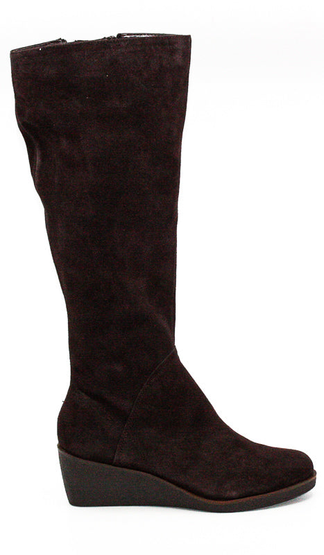 Yieldings Discount Shoes Store's Binocular Suede Tall Wedge Boots by Aerosoles in Dark Brown