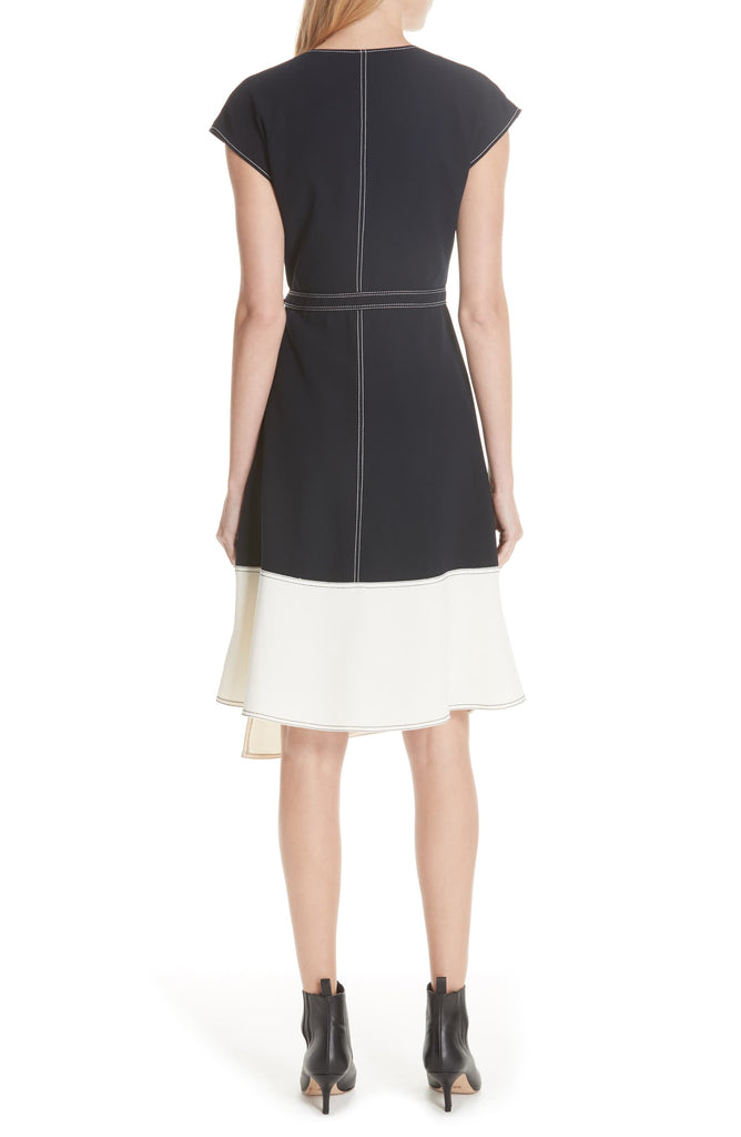 Yieldings Discount Clothing Store's Mahesa Colorblock Wrap Dress by Joie in Midnight Porcelain