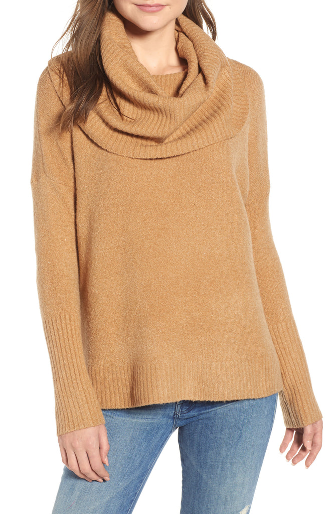 Yieldings Discount Clothing Store's Cowl Neck Sweater by French Connection in Camel