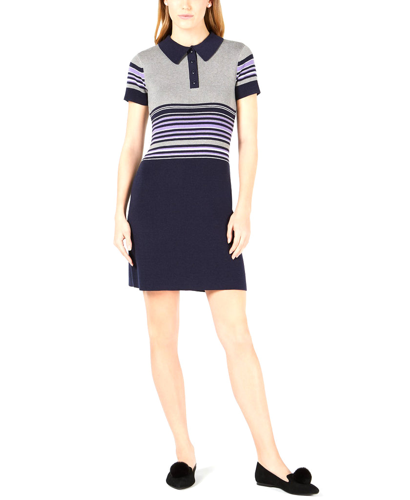 Yieldings Discount Clothing Store's Striped Polo Sweater Dress by Maison Jules in Lilac Moon