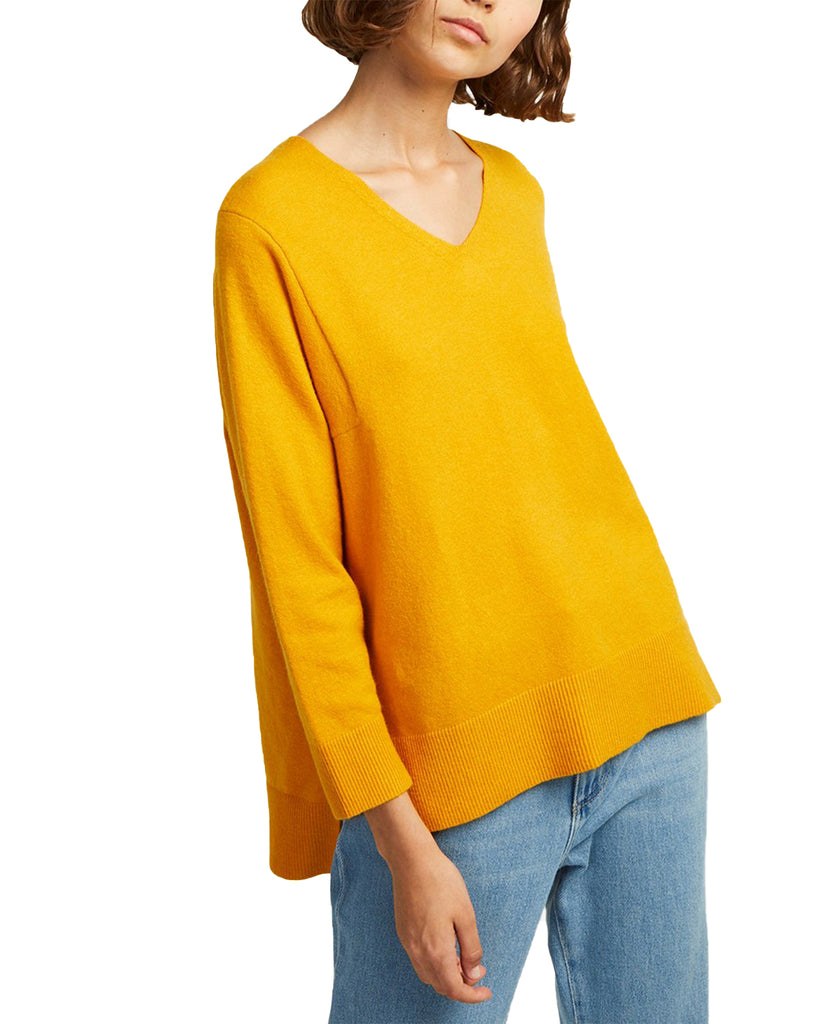 Yieldings Discount Clothing Store's Ebba Vhari V-Neck Sweater by French Connection in Yellow