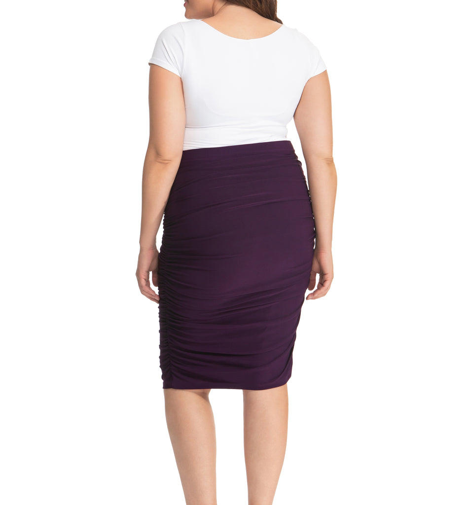 Yieldings Discount Clothing Store's Helena Ruched Skirt by Kiyonna in Plum