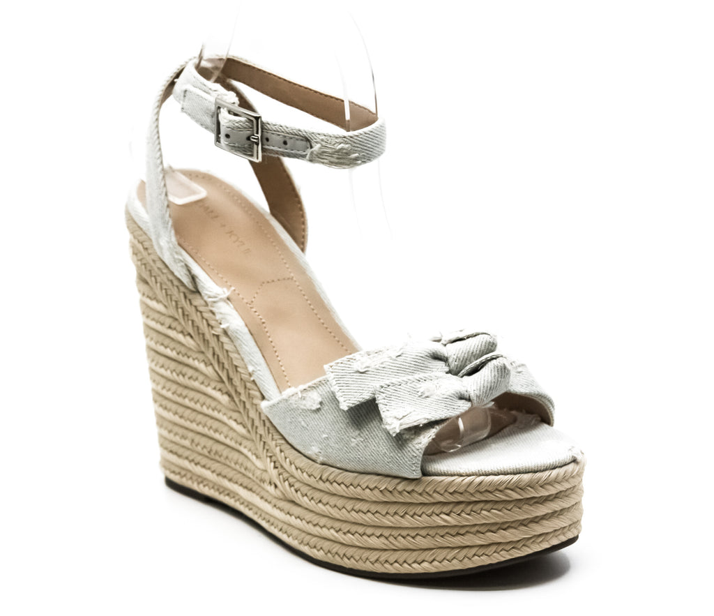 Yieldings Discount Shoes Store's Gwenn Fabric Wedge Sandals by Kendall + Kylie in Light Blue