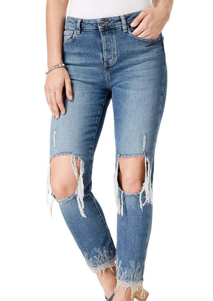 Yieldings Discount Clothing Store's Iced Indigo It Girl Ripped Embroidered Jeans by Guess in Deep Ocean Blue
