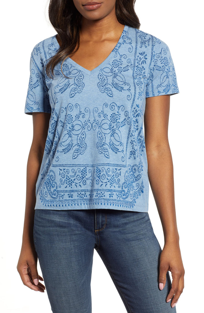 Yieldings Discount Clothing Store's Bandana Print Tee by Lucky Brand in Blue Multi