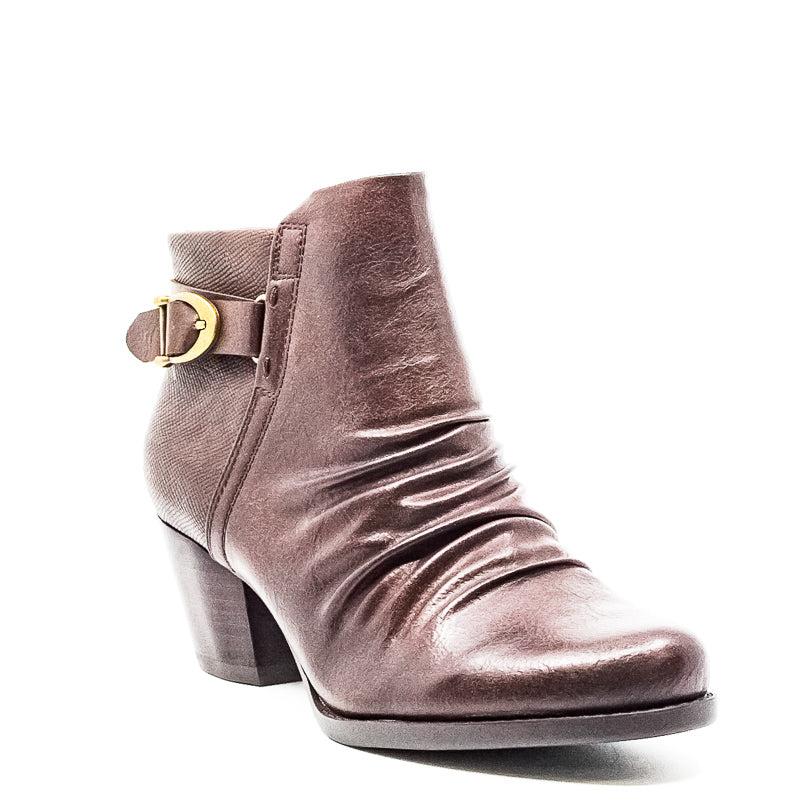 Yieldings Discount Shoes Store's Reliance Synthetic Leather Block Heel Booties by Baretraps in Dark Brown