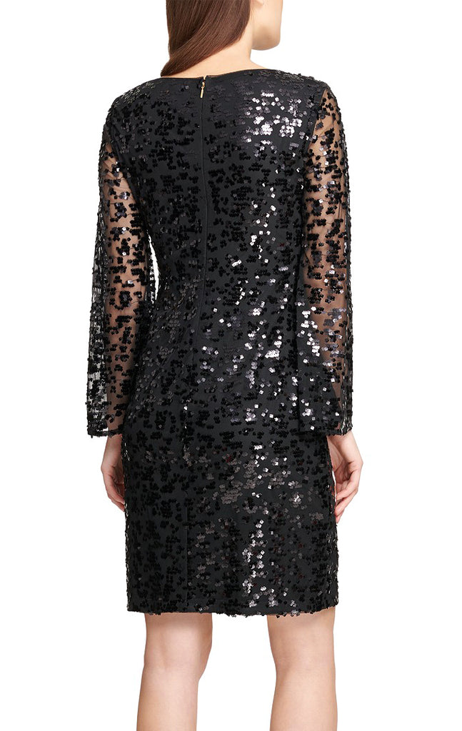 Yieldings Discount Clothing Store's Sequined Sheath Dress by DKNY in Black