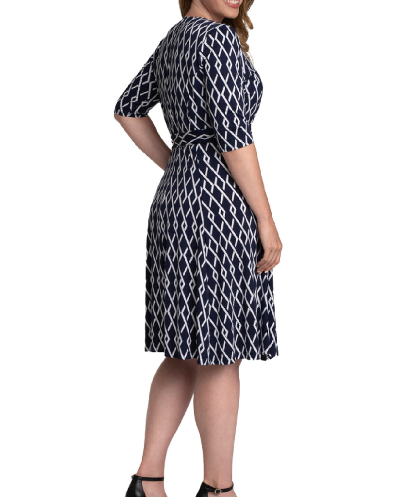 Yieldings Discount Clothing Store's Essential Wrap Dress by Kiyonna in New Geo Navy