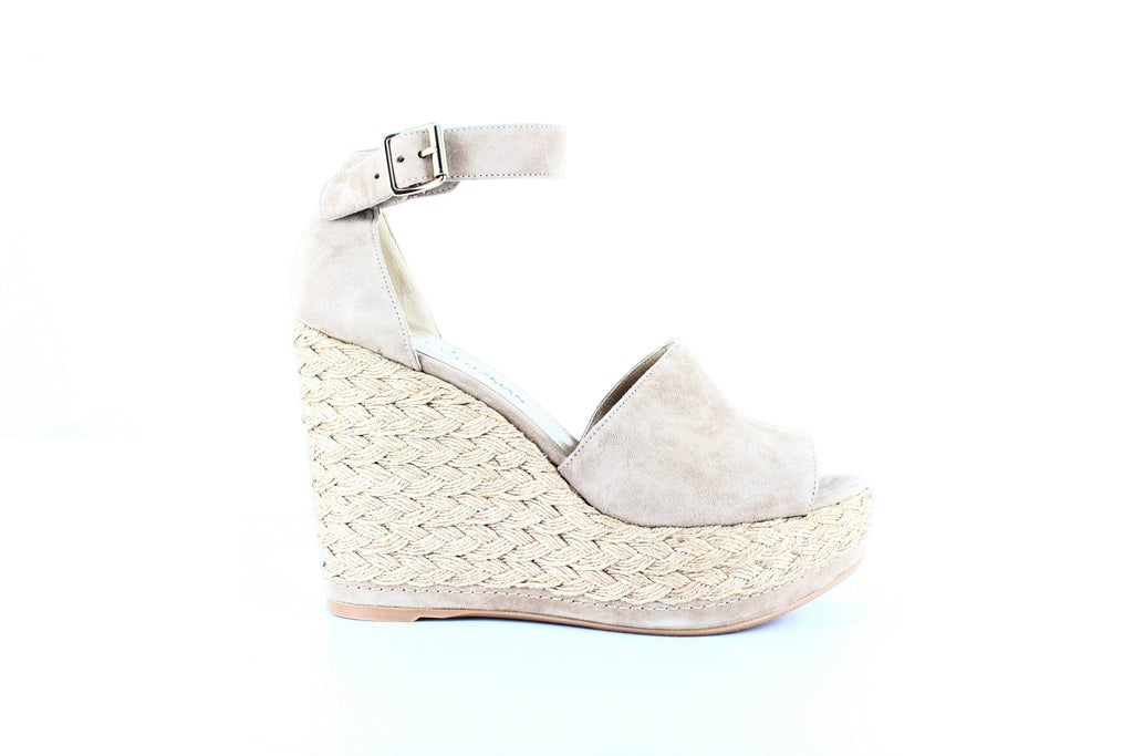 Yieldings Discount Shoes Store's Sohojute Suede Braided Wedge Sandals by Stuart Weitzman in Mojave Suede