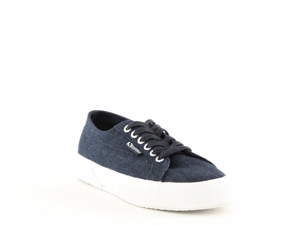 Yieldings Discount Shoes Store's 2750 Denim Shiny Lace Up Sneakers by Superga in Denim