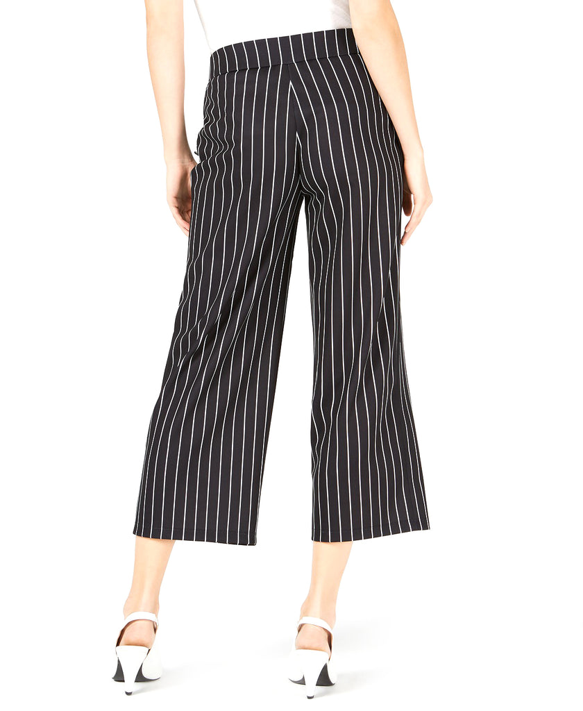Yieldings Discount Clothing Store's Striped Wide-Leg Cropped Pants by Maison Jules in Black Stripe Combo