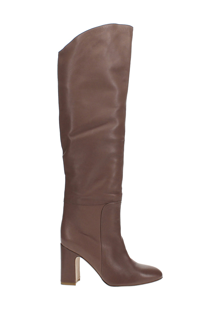 Yieldings Discount Shoes Store's Lucinda Fold-Over Knee-High Boots by Stuart Weitzman in Taupe Leather