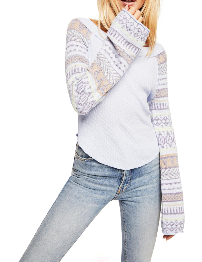 Yieldings Discount Clothing Store's Fairground Thermal Sweater by Free People in Periwinkle Combo