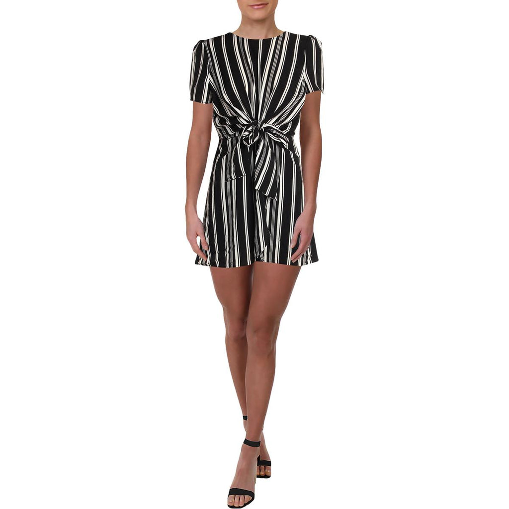 Yieldings Discount Clothing Store's Striped Keyhole Casual Dress by Aqua in Black/White