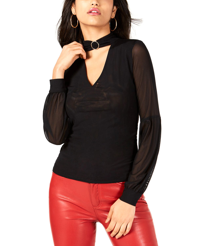 Yieldings Discount Clothing Store's Niki Mesh Mock-Neck Top by Guess in Jet Black