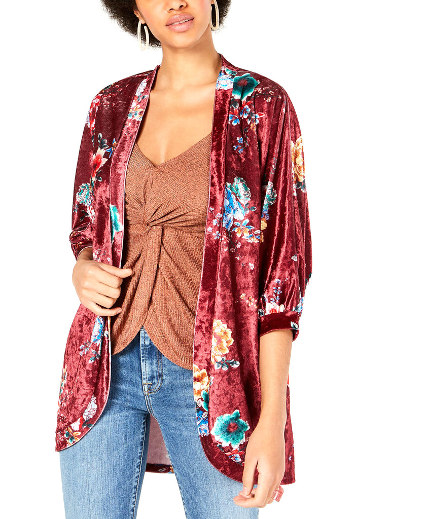 Yieldings Discount Clothing Store's Printed Crushed Velvet Kimono by Project 28 NYC in Wine Floral