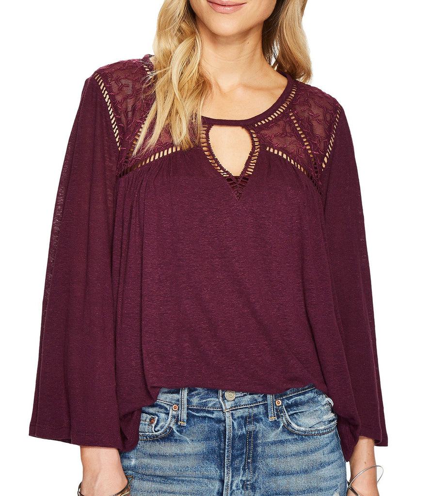 Yieldings Discount Clothing Store's Lace-Trim Angel-Sleeve Top by Lucky Brand in Dark Purple