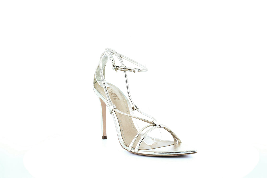 Yieldings Discount Shoes Store's Evellyn Strappy Sandals by Schutz in Platina