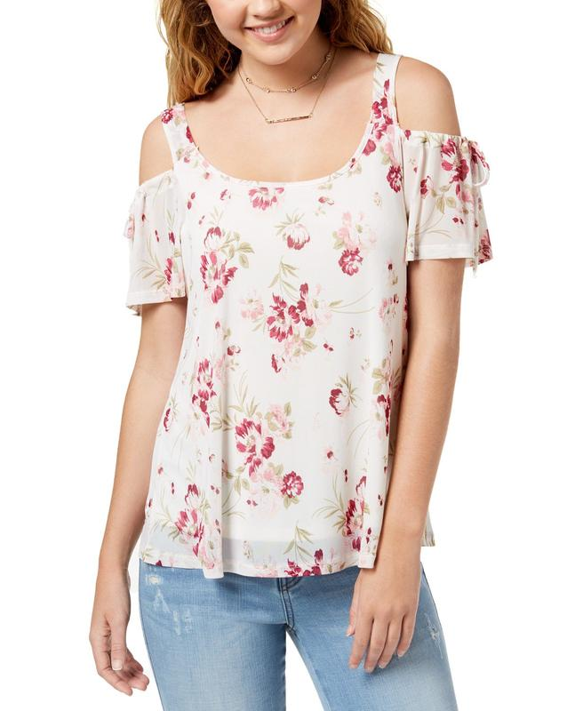 Yieldings Discount Clothing Store's Cold Shoulders Floral Print Top by Ultra Flirt in Candy Flowers