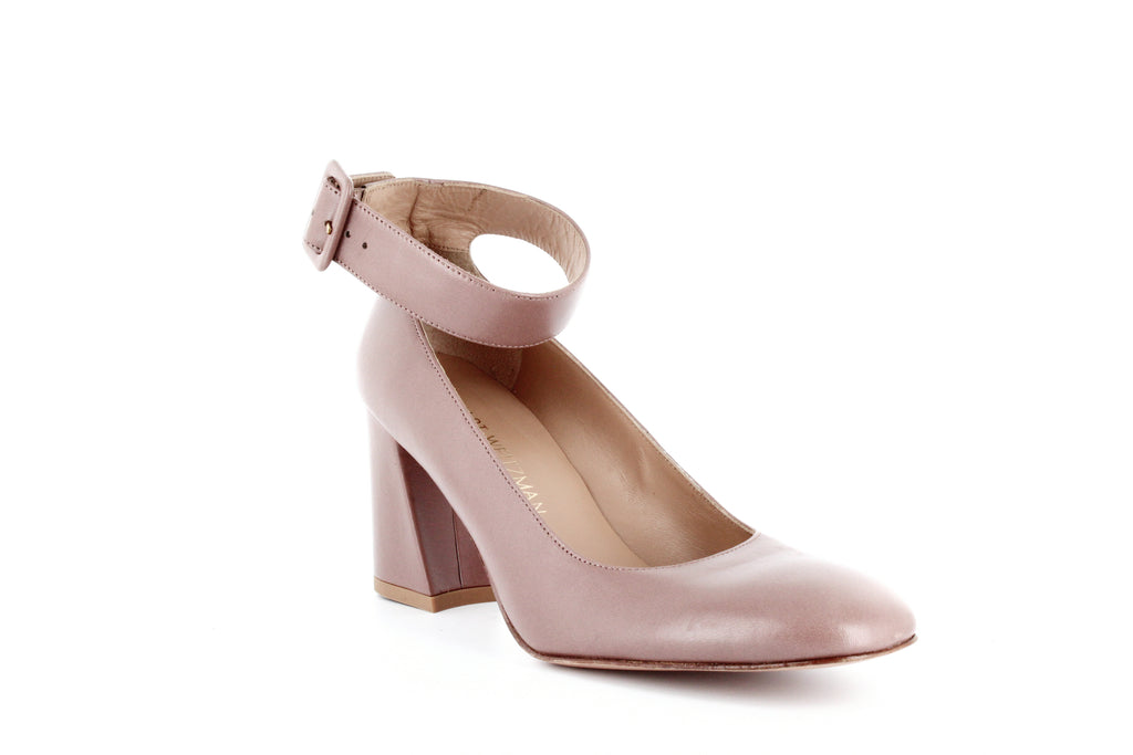 Yieldings Discount Shoes Store's Clara Block Heel Pumps by Stuart Weitzman in Mouse Nappa