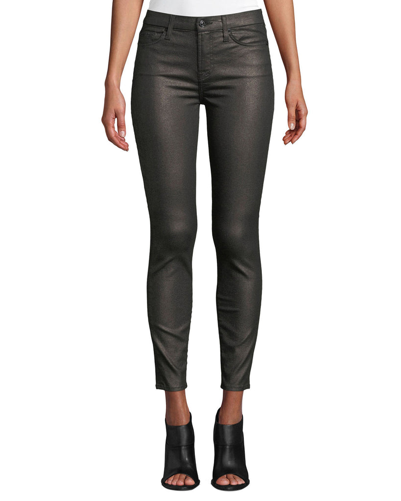 Yieldings Discount Clothing Store's Metallic Mid-Rise Skinny Ankle Jeans by 7 For All Mankind in Gunmetal