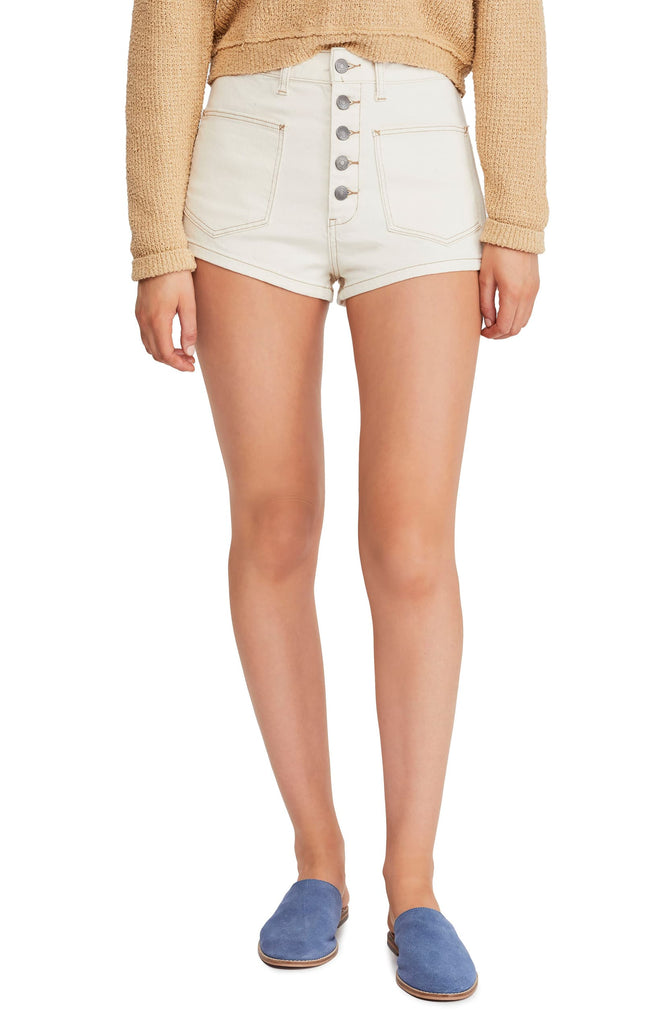 Yieldings Discount Clothing Store's Bridgette Denim Shorts by We The Free By Free People in Ecru