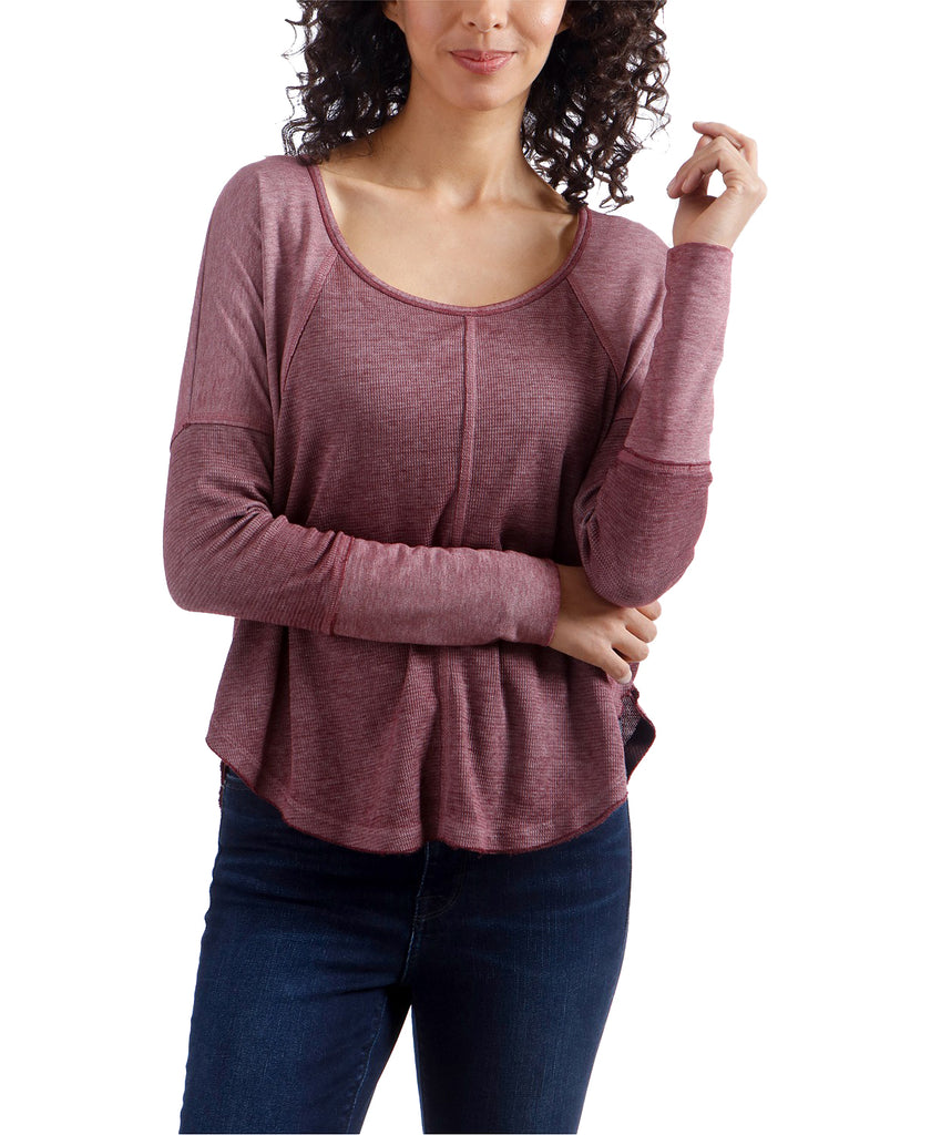 Yieldings Discount Clothing Store's Cotton Thermal Top by Lucky Brand in Mauve