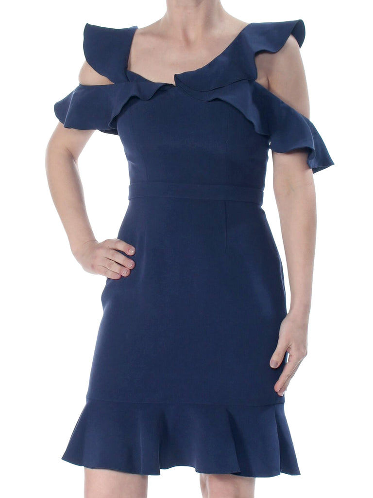 Yieldings Discount Clothing Store's Delia Ruffled Cold-Shoulder Dress by Rachel Zoe in Parisian Blue