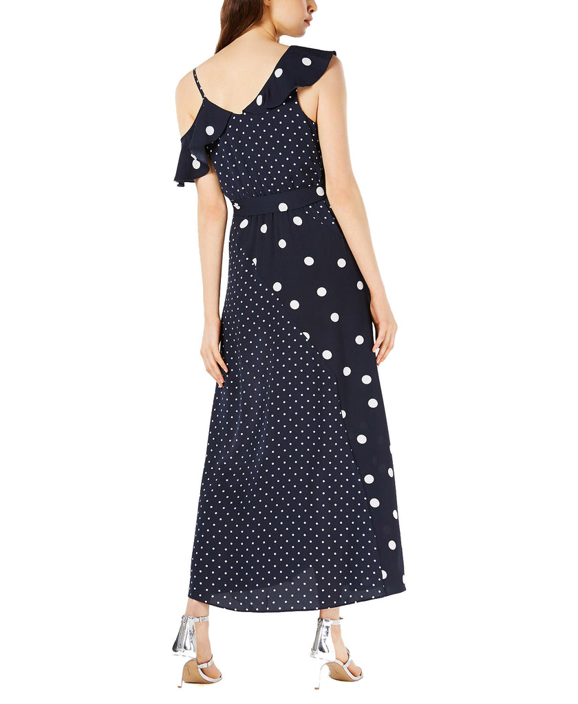 Yieldings Discount Clothing Store's Mixed Dot-Print Maxi Dress by Bar III in Floating Navy