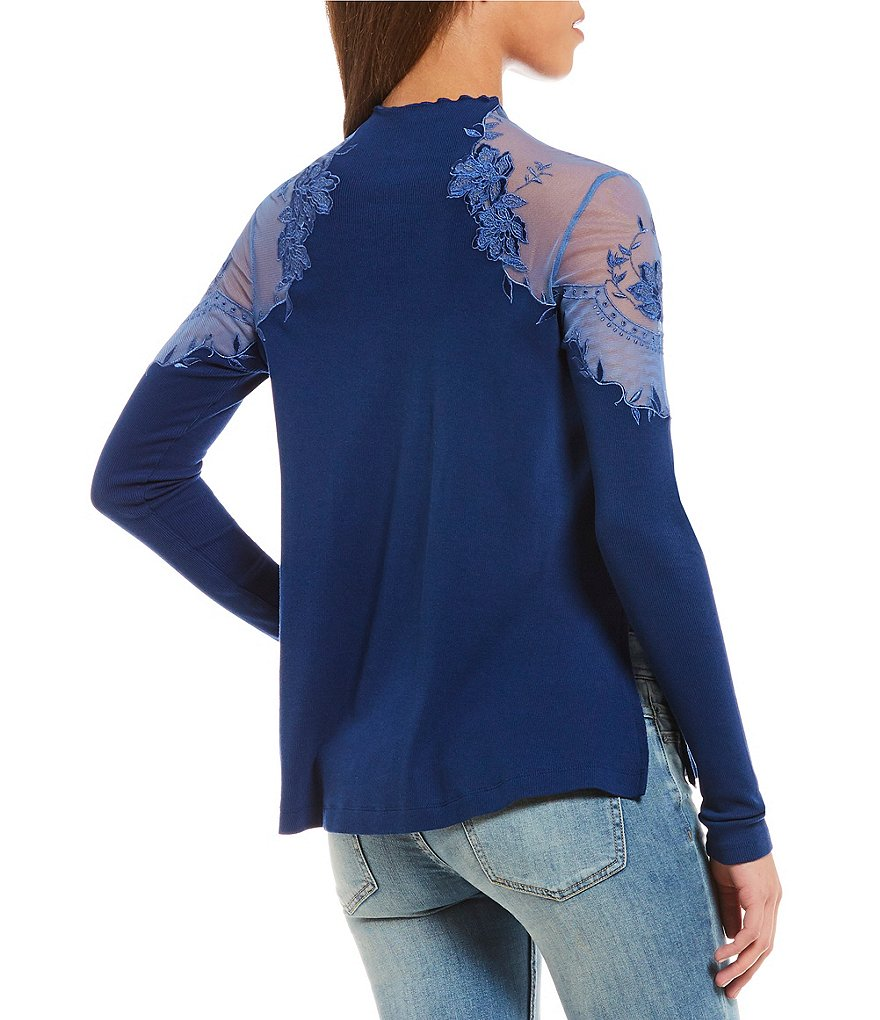 Yieldings Discount Clothing Store's Daniella Embroidered Illusion Pullover Top by Free People in Blue