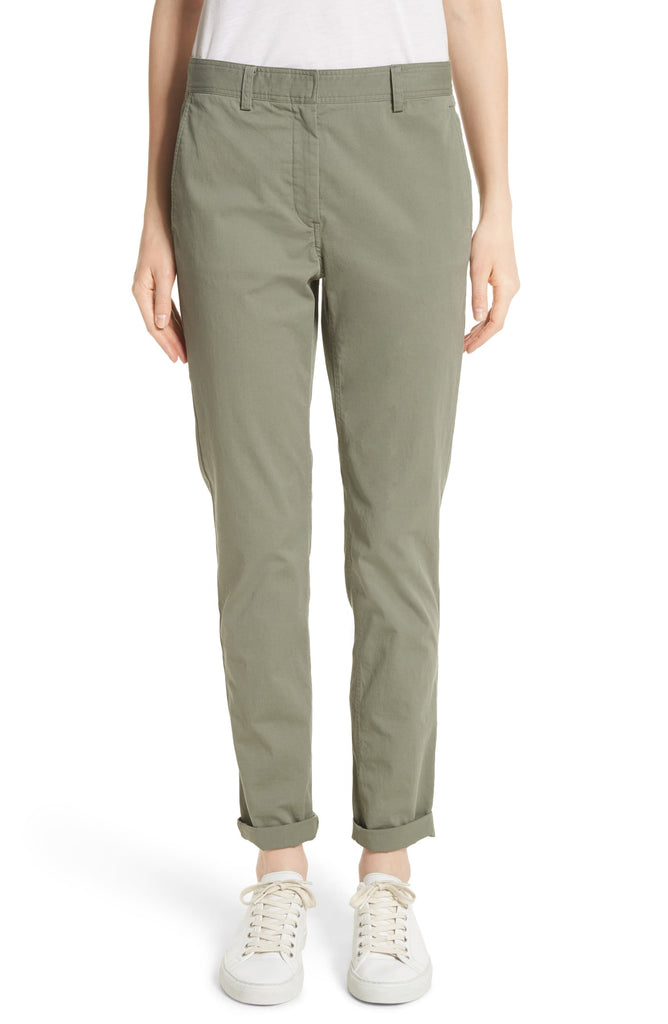 Yieldings Discount Clothing Store's Boyfriend Casual Twill Pants by Theory in Faded Army