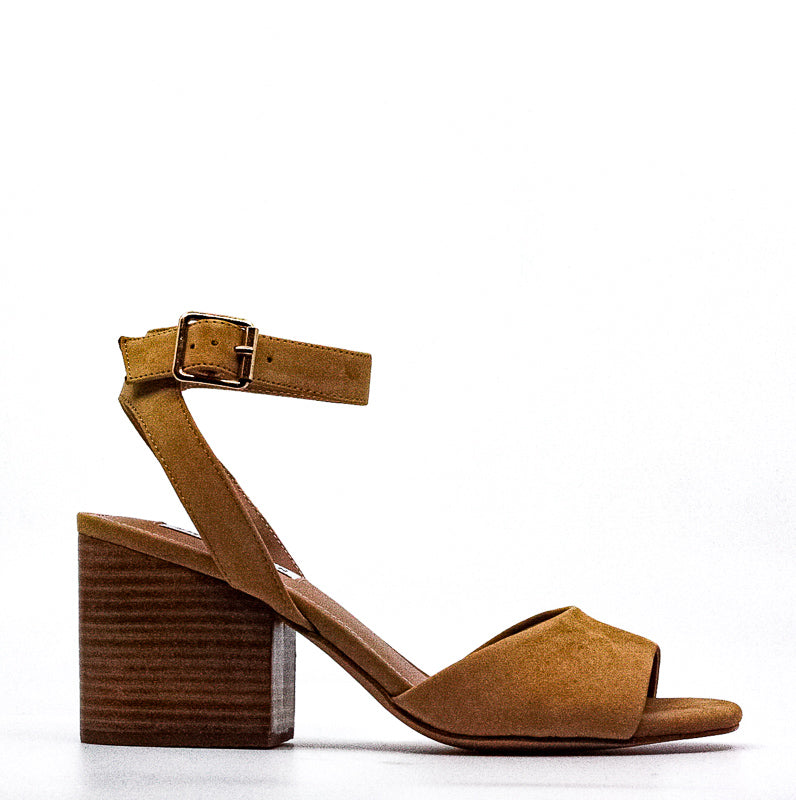 Yieldings Discount Shoes Store's Devlin Nubuck Block Heel Sandals by Steve Madden in Tan