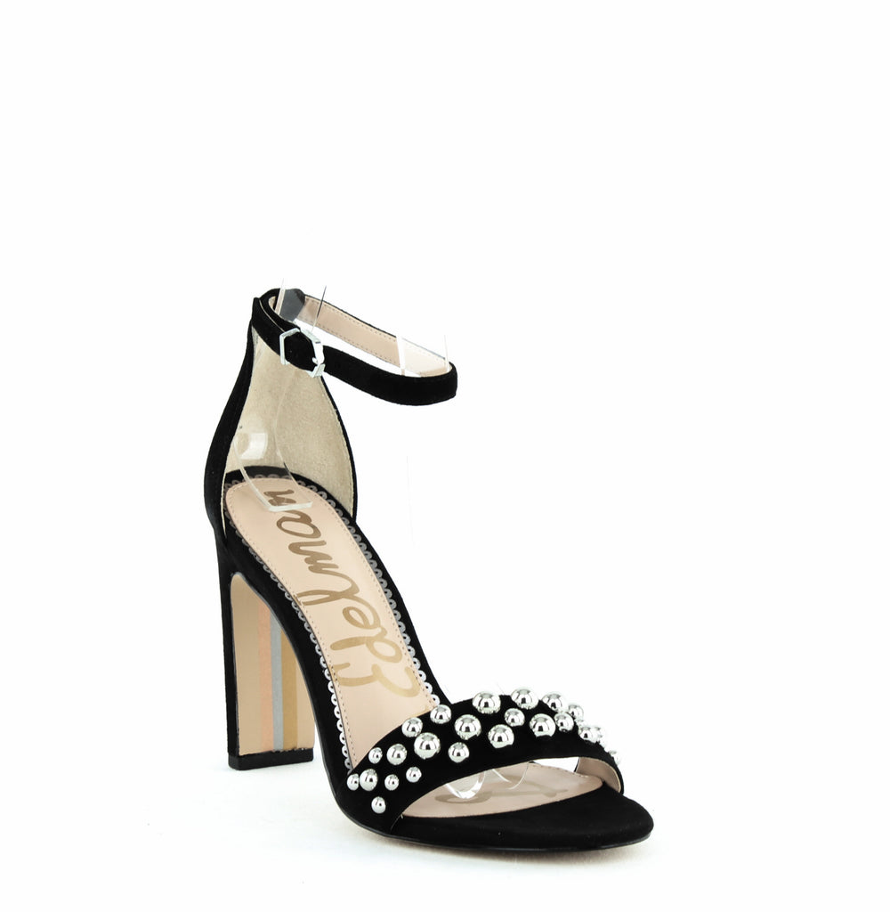Yieldings Discount Shoes Store's Yoshi Suede Heel Sandals by Sam Edelman in Black