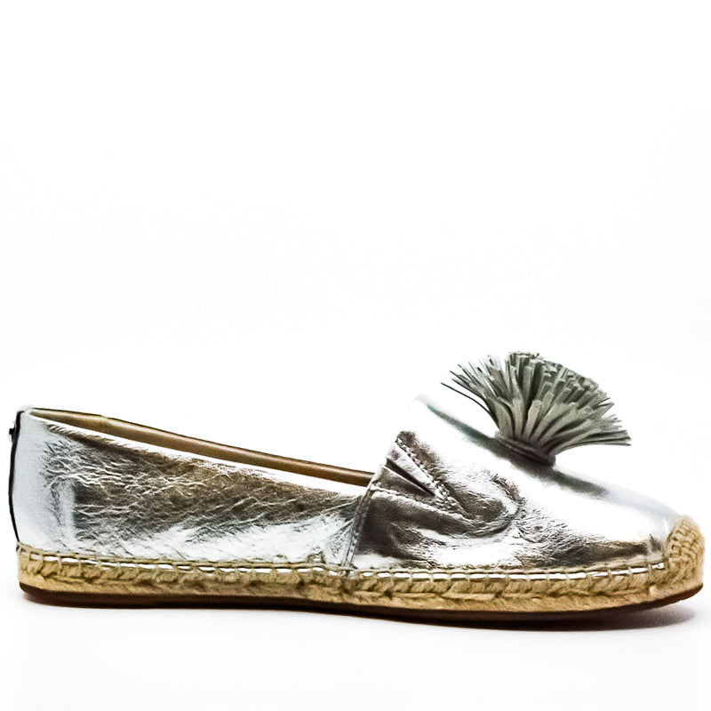 Yieldings Discount Shoes Store's Lolita Metallic Leather Slip-Ons by MICHAEL Michael Kors in Silver