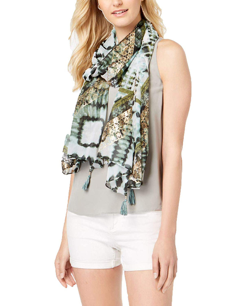 Yieldings Discount Accessories Store's Metallic Shibori-Print Cover-Up & Wrap by INC in Black