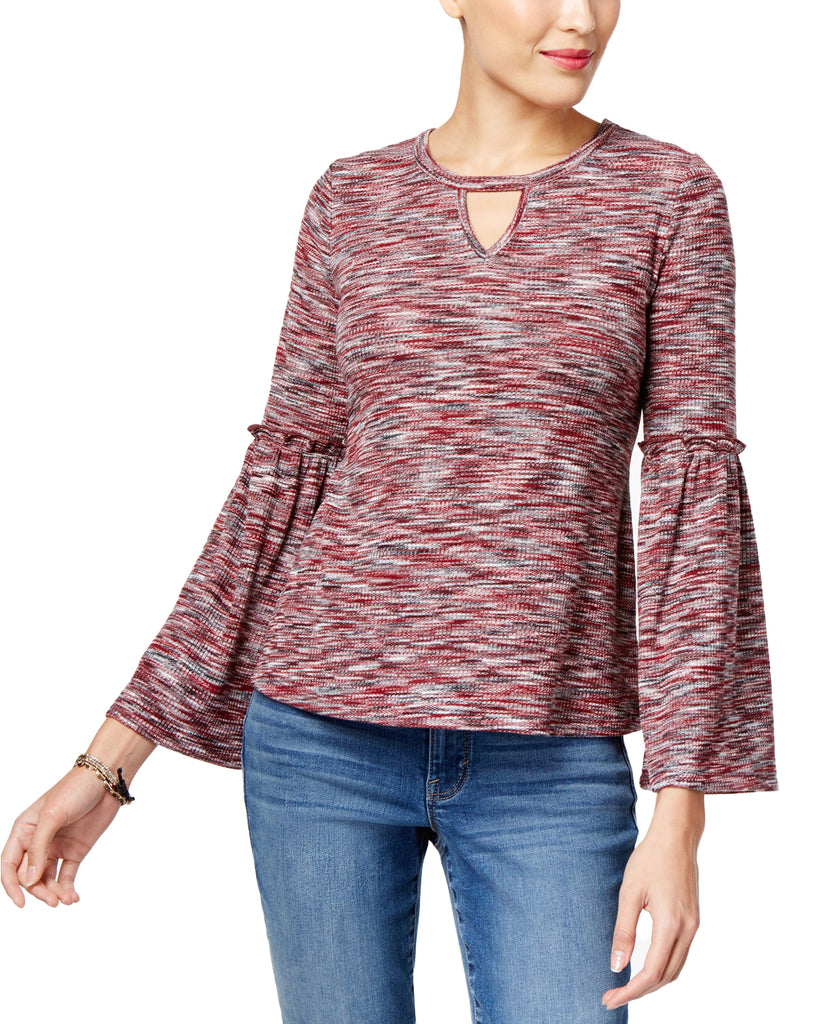 Yieldings Discount Clothing Store's Petite Space-Dyed Bell-Sleeve Top by Style & Co in Burgundy