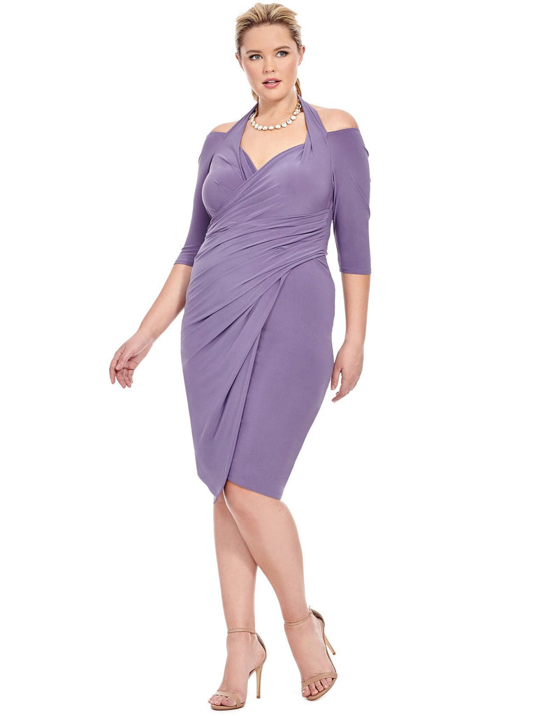 Yieldings Discount Clothing Store's Foxfire Faux Wrap Dress by Kiyonna in Lilac