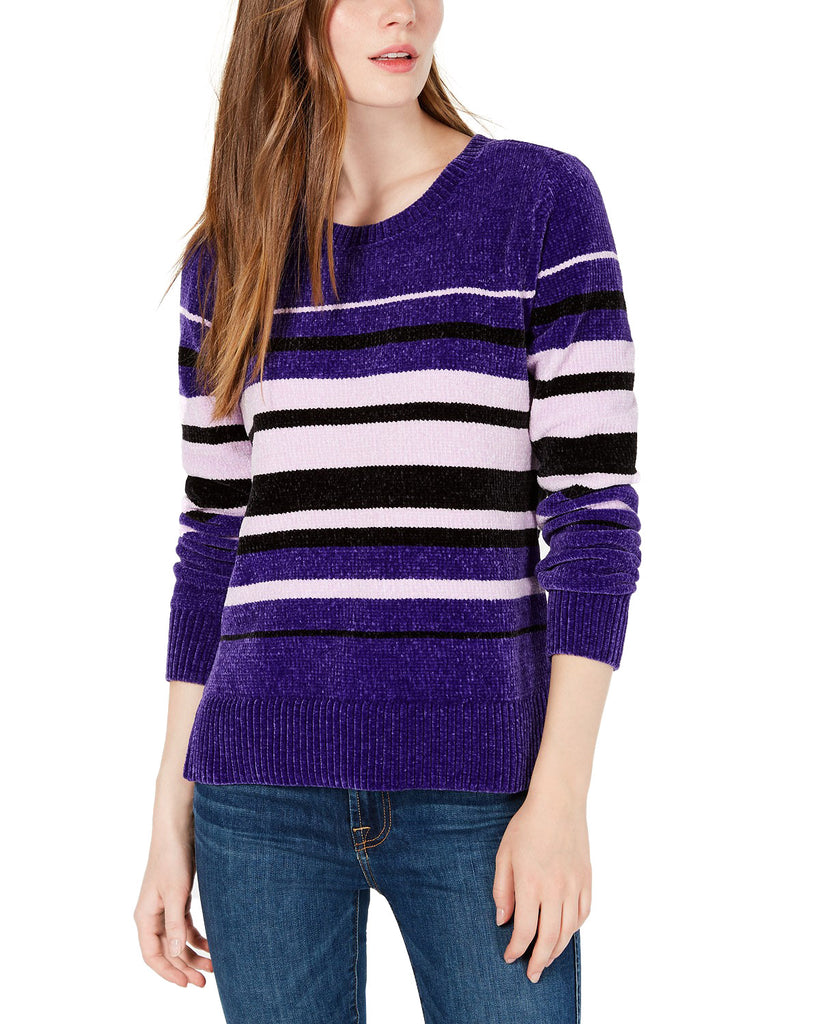 Yieldings Discount Clothing Store's Striped Chenille Sweater by Maison Jules in Electric Purple Combo